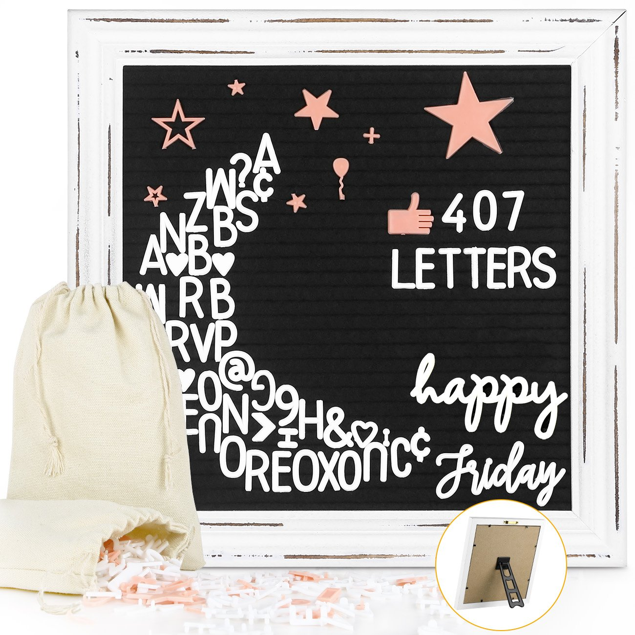 Black Felt Letter Board 10x10 Inches Rustic White Wood Farmhouse Vintage Frame, Antique Changeable Message Boards with 407 Pre-Cut Plastic Letters Cursive Words, and 2 Canvas Organizer Bags, Easyacc