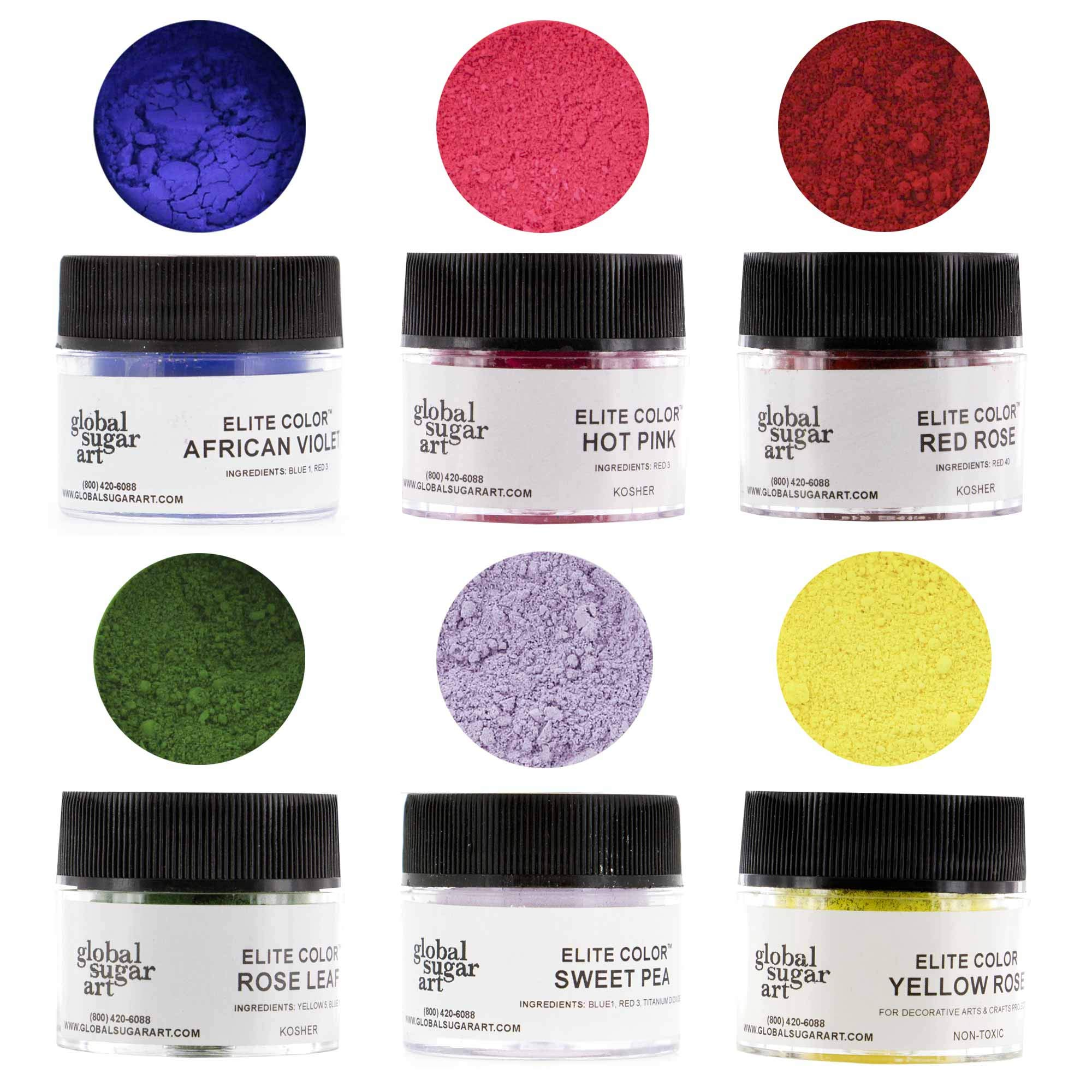 Floral Premium Petal Dust Kit, 6 Color by Global Sugar Art