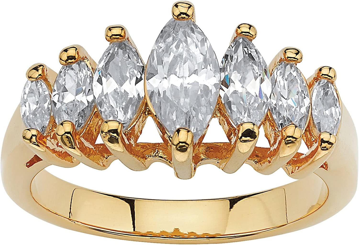 Palm Beach Jewelry 18K Yellow Gold Plated Marquise Cut Cubic Zirconia Graduated Anniversary Ring
