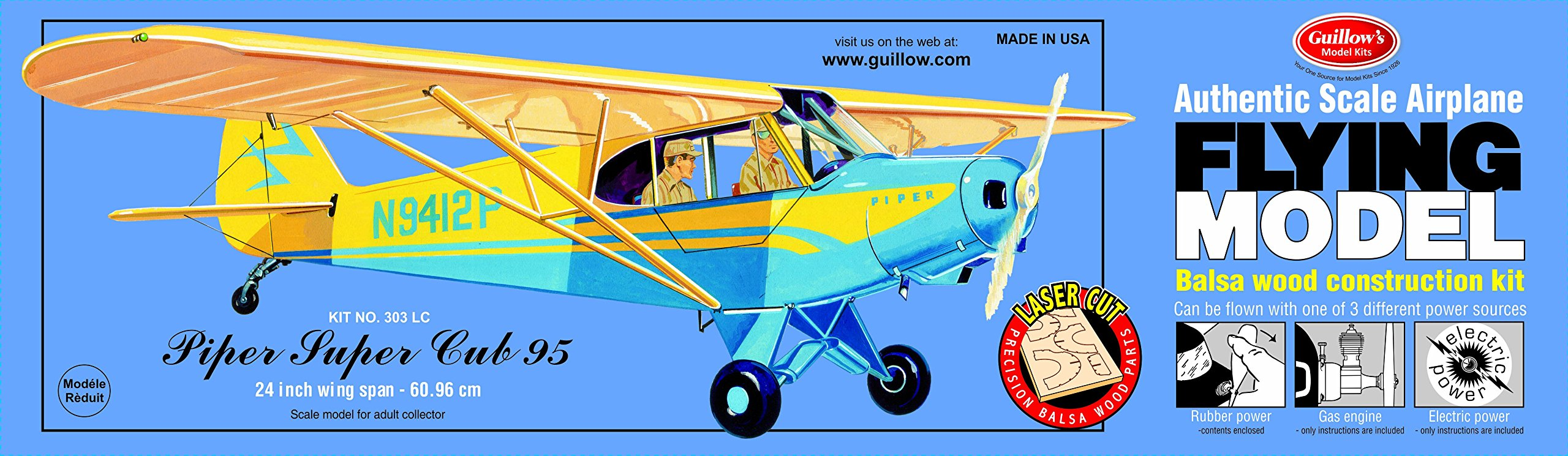 Guillow's Piper Super Cub 95 Laser Cut Model Kit by Guillow
