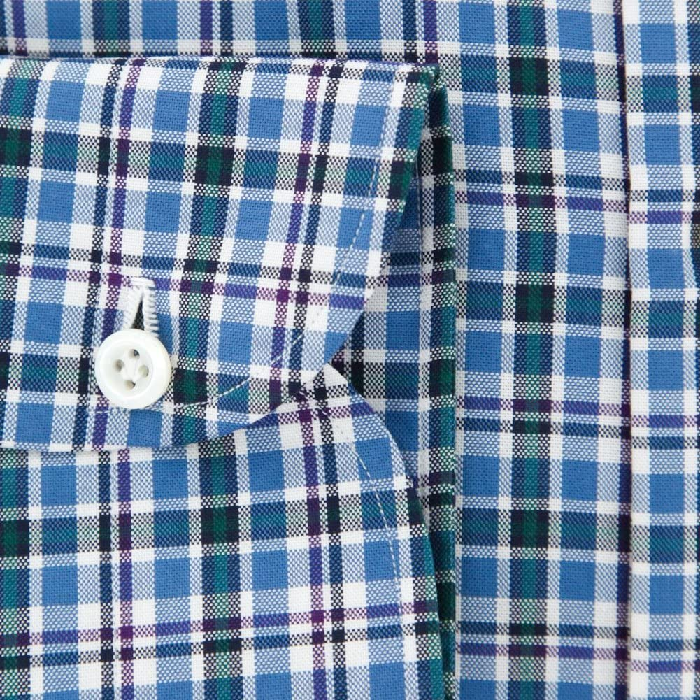 New Luigi Borrelli Blue Plaid Extra Slim Shirt