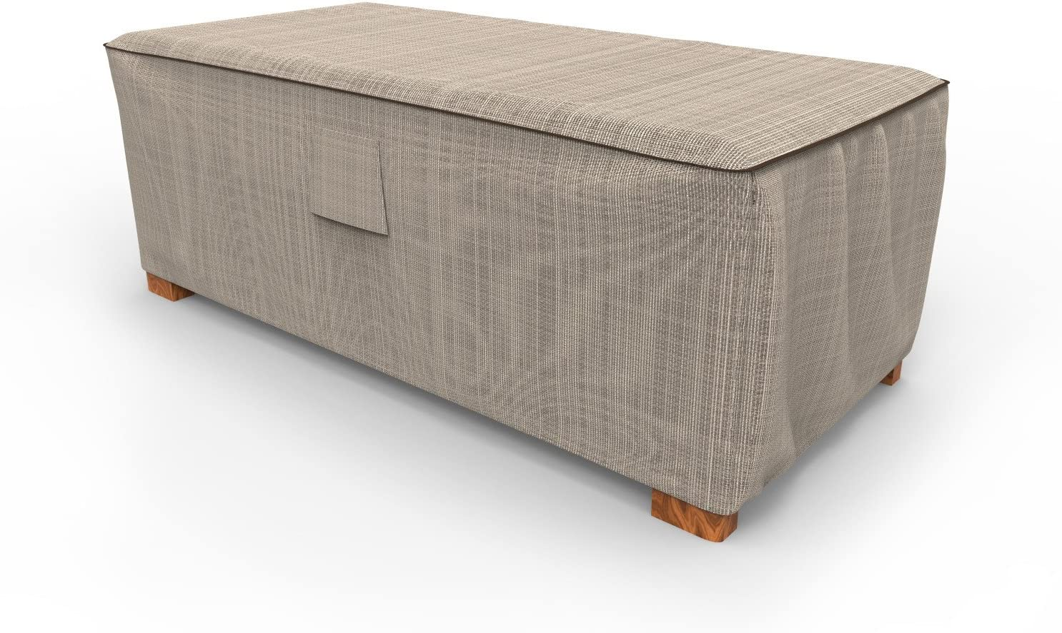 Budge P4A03PM1 English Garden Slim Patio Ottoman/Coffee Table Cover Heavy Duty and Waterproof, Medium, Two-Ton Tan