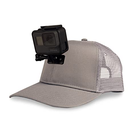 e7bd1bdb5b604 Amazon.com   ActionHat Grey Curved Bill - Patent Pending Floating Hat Mount  for GoPro Hero 3 4 5 6 7   Camera   Photo