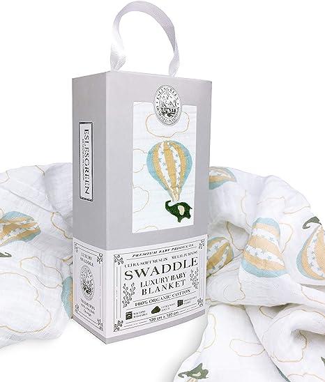 Eslesgreen Manta Muselina de bebé Grande 120x120cm | 100% Algodón ...