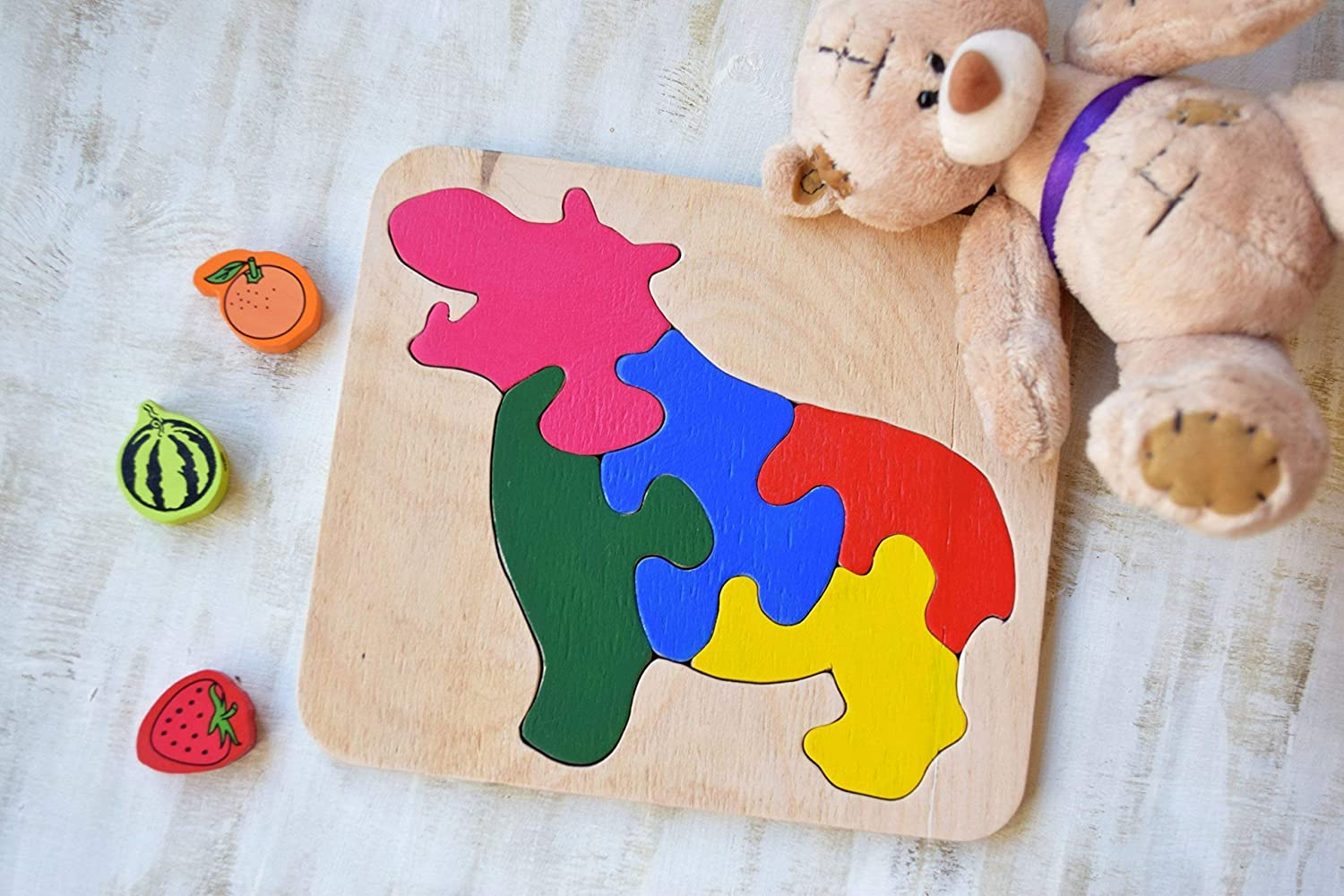 Wood Puzzle Hippo Montessori Toy Safari Nursery Baby Wooden Puzzles Organic Natural Eco Friendly Toys Autism Gifts Baby Shower Gift
