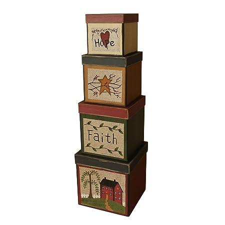 CVHOMEDECO. Juego de 4 cajas de cartón para nido cuadradas con diseño de la esperanza vintage, tamaño grande, 20 x 20 x 20 cm: Amazon.es: Hogar