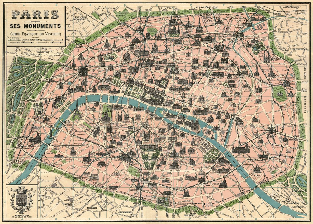 amazoncom vintage paris map monuments poster by cavallini co 20 x 28 kitchen dining