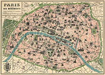Amazon.com: Vintage Paris Map Monuments Poster By Cavallini & Co. 20 ...