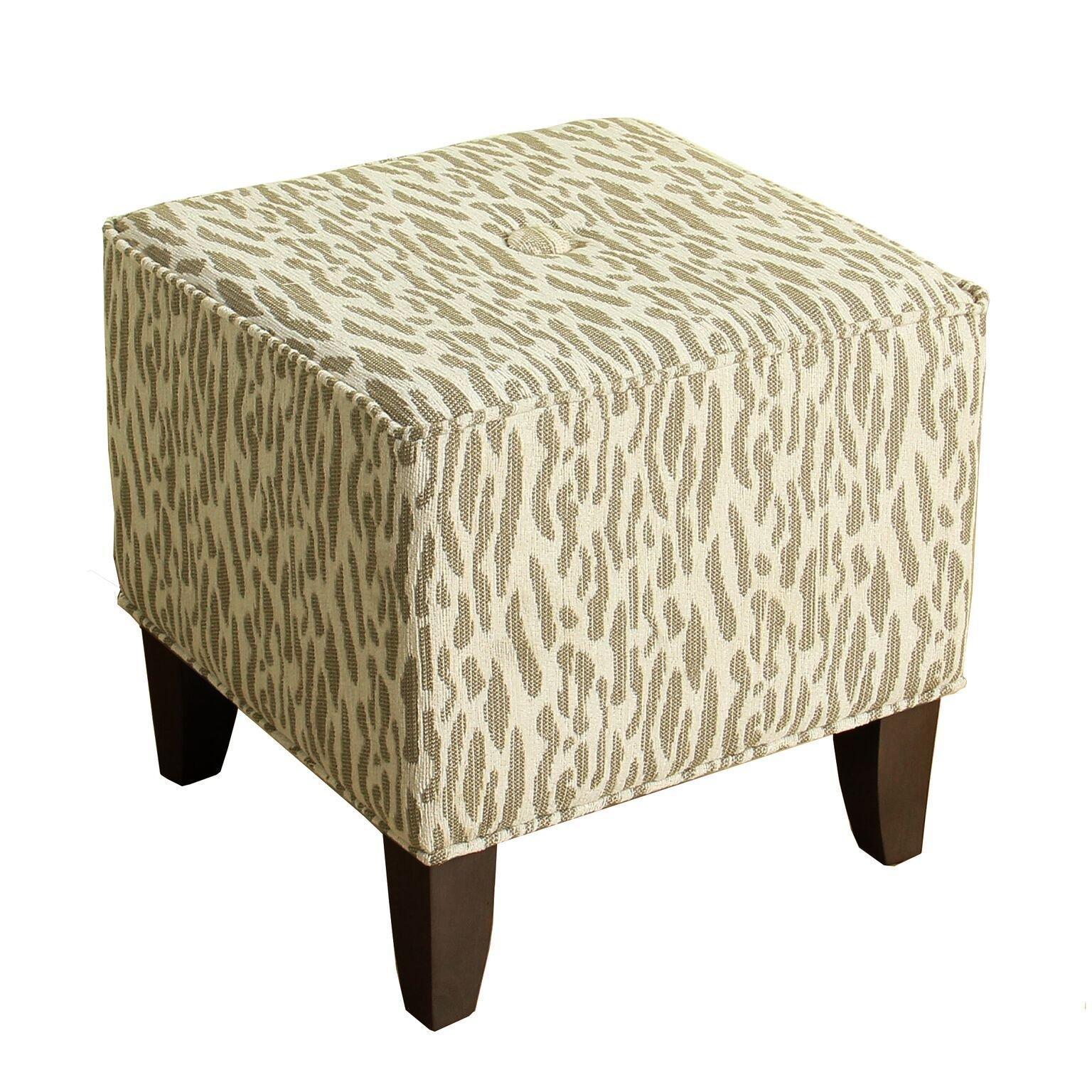 HomePop Upholstered Cube Ottoman, Animal Print Chenille