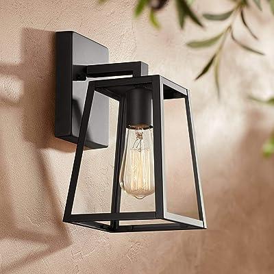 "Arrington Modern Outdoor Wall Light Fixture Mystic Black 10 3/4"" Clear Glass Antique Edison Style Bulb for Exterior House Porch Patio Deck - John Timberland"