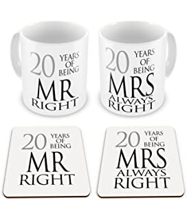 My Husband 20th Wedding Anniversary Gift Set - Card, Keyring ...