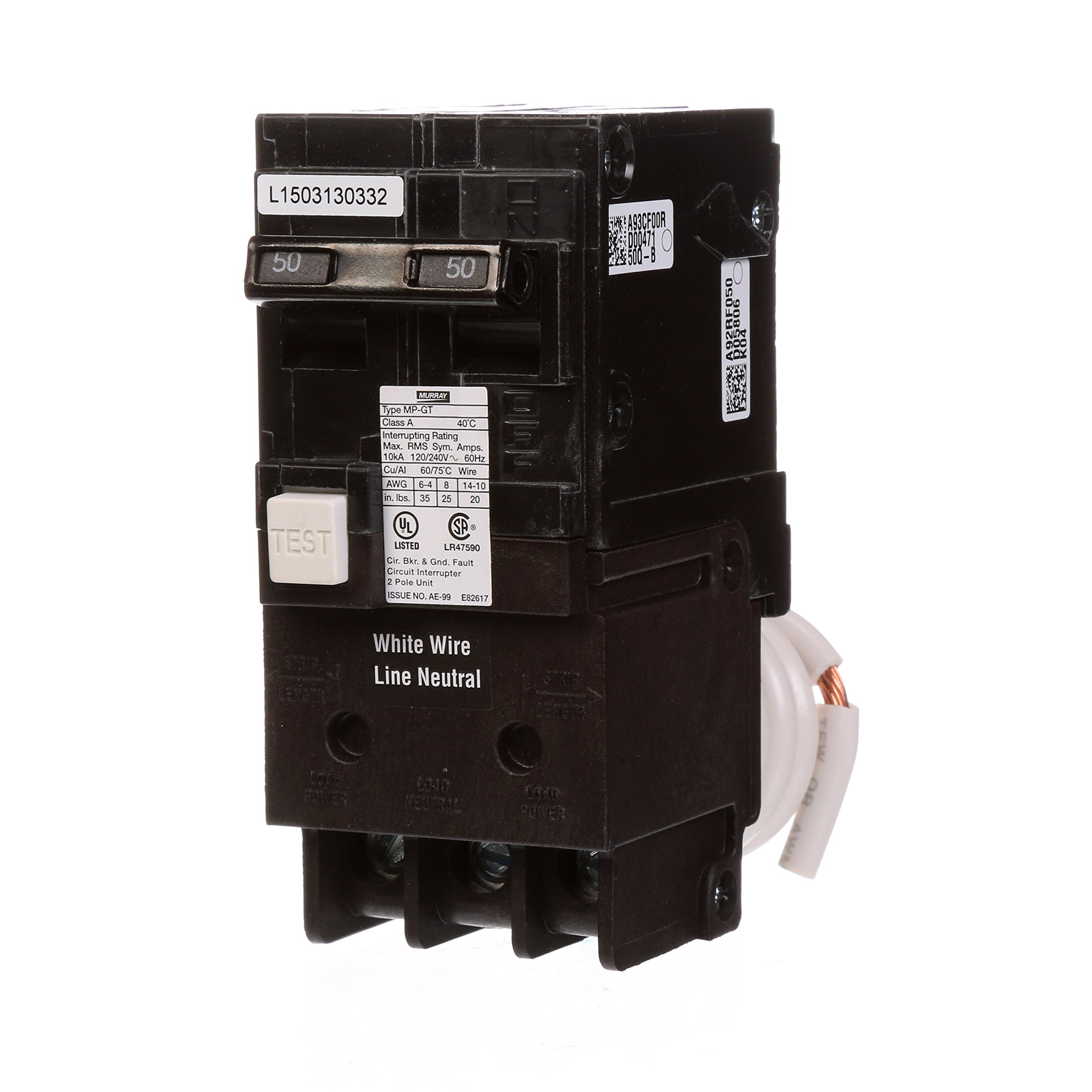Murray MP250GFA 50 Amp 2-Pole Gfci Circuit Breaker with Self Test & Lockout Feature