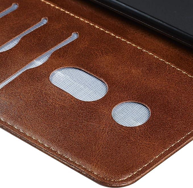Boloker Funda para Samsung Galaxy A10 // Galaxy M10 Carcasa con Tapa Flip Case Antigolpes Parachoques Golpes Cartera Billetera PU Cuero Suave Case Cover Rojo con Protector Pantalla