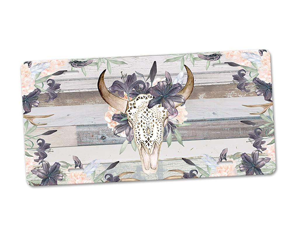 Cowboy Longhorn Skull License Plate Metal Tin Sign Picture Plaque for Art Wall
