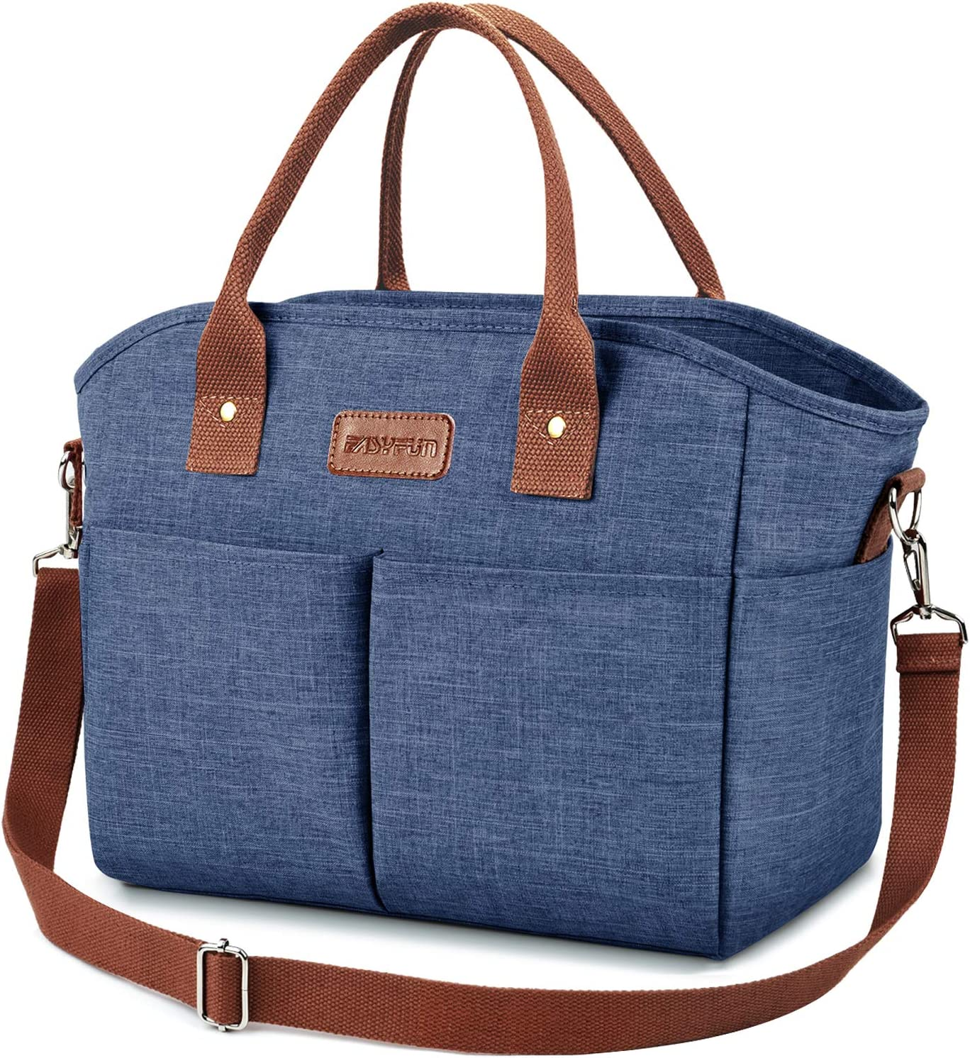 Lunch Bags for Women Insulated Thermal Lunch Tote Bag with Shoulder Strap Upgrade Large Lunch Box Container Drinks Holder for Adults Men Work College Picnic Beach Park, Blue