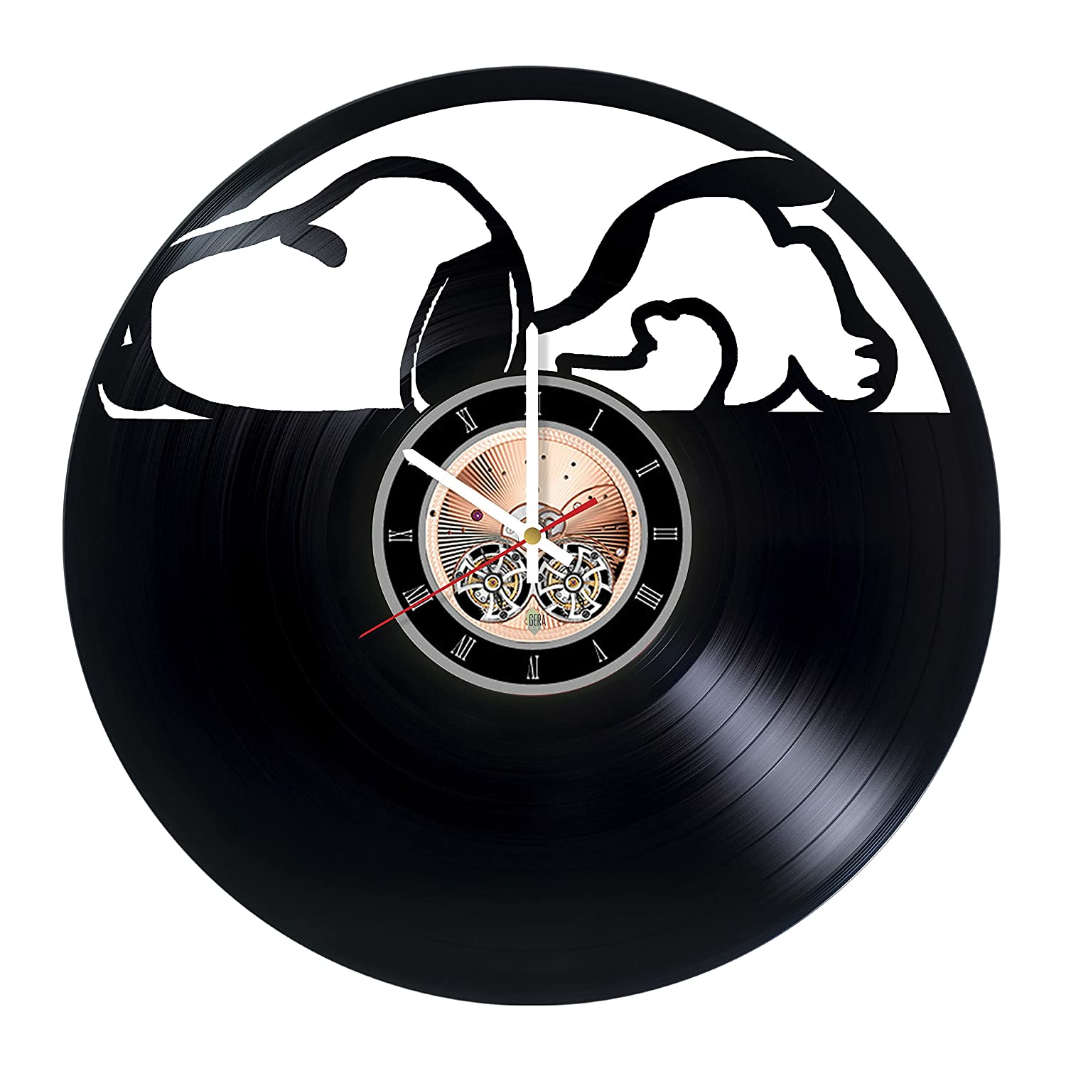 Snoopy Sleeping Dogs Vinyl Record Wall Clock -Nursery room wall decor - Gift ideas for kids, siblings - Unique Art Design choma