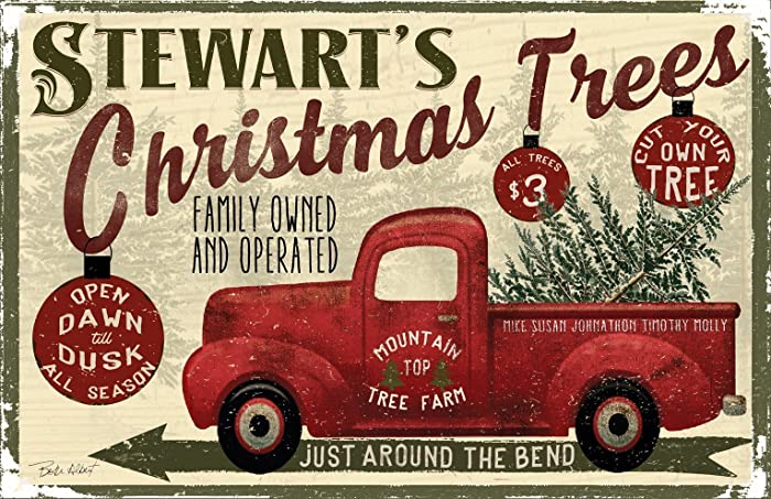 personalized family name red truck christmas decor poster 11x17 sawyers mill inc