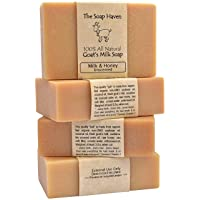 4 Goat Milk Soap Bars with Honey - Handmade in USA. All Natural Soap - Unscented...