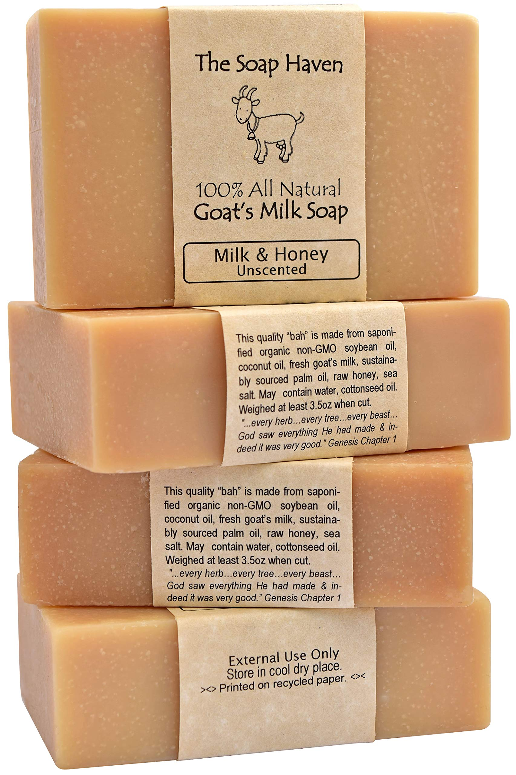 4 Goat Milk Soap Bars with Honey - Handmade in USA. All Natural Soap - Unscented, Fragrance Free, Fresh Goats Milk. Wonderful for Eczema, Psoriasis, Babies, and Sensitive Skin. SLS, Paraben, GMO-Free.