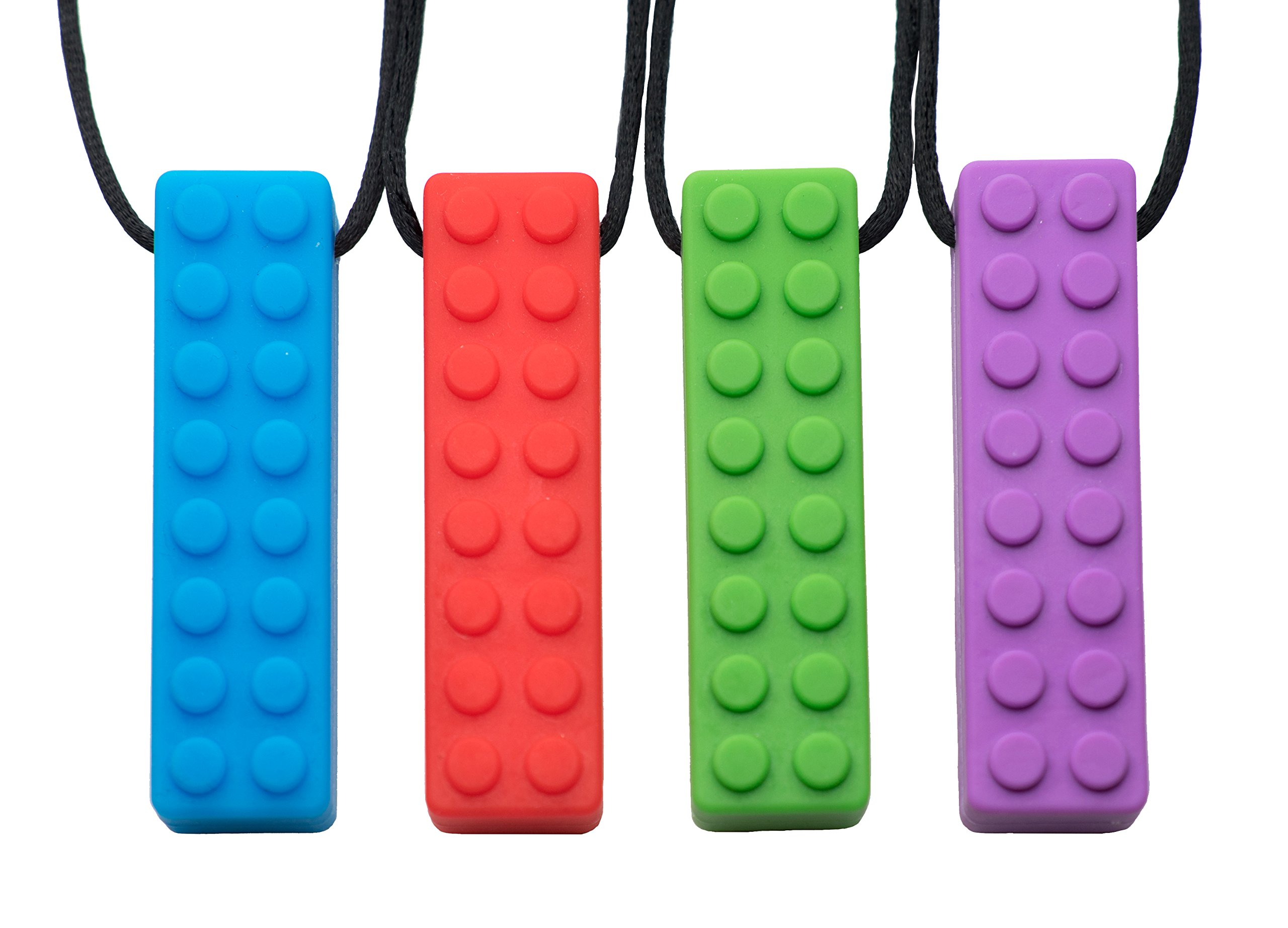 Chew Chew Sensory Lego Teether Necklace 4-Pack – Best for Autism, Biting and Teething Kids – Durable and Strong Silicone Chewy Toys - Chewing Pendant for Boys & Girls - Fidget Chewlery Necklaces