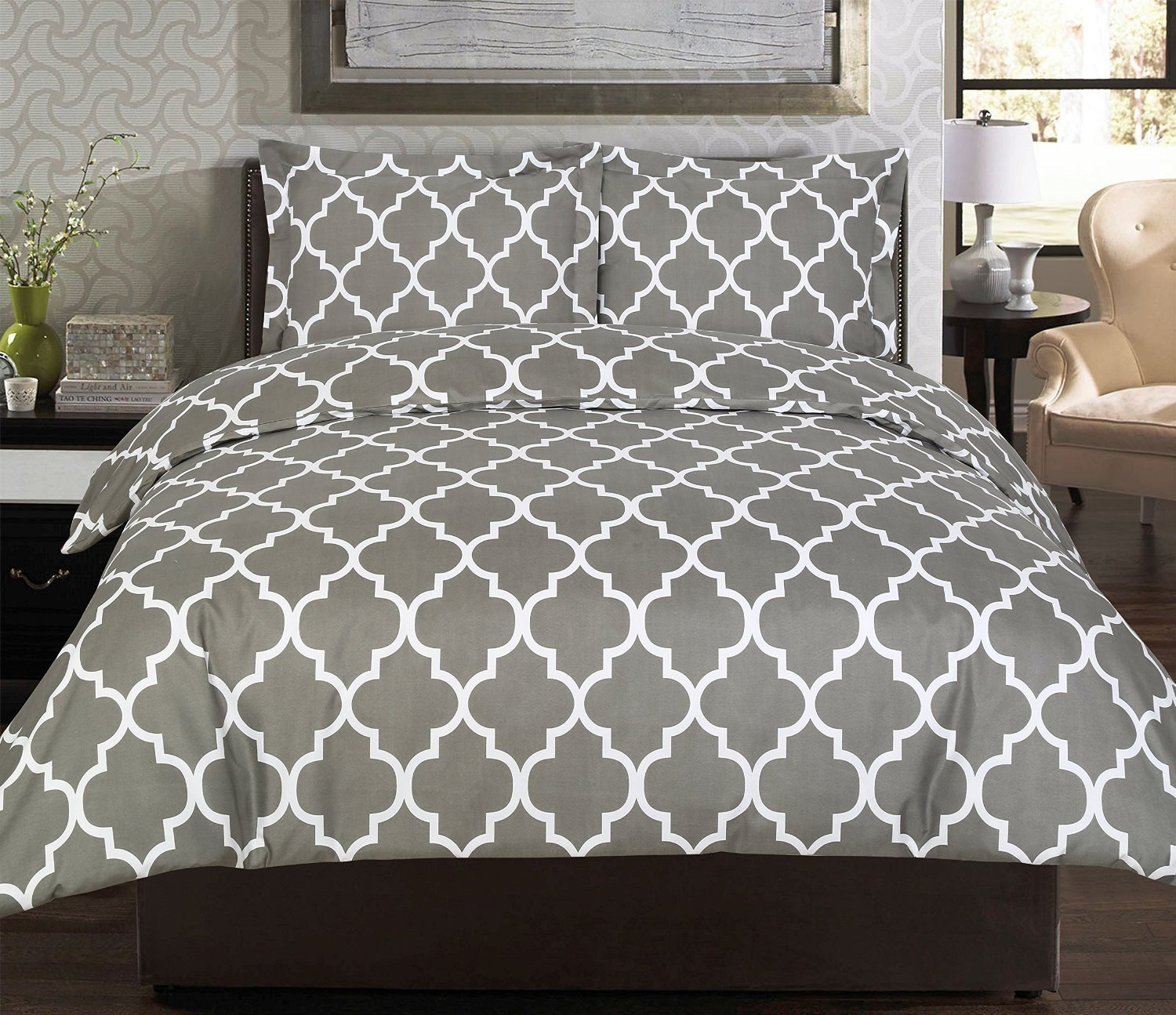 3 Piece Duvet Cover Set Queen, Grey