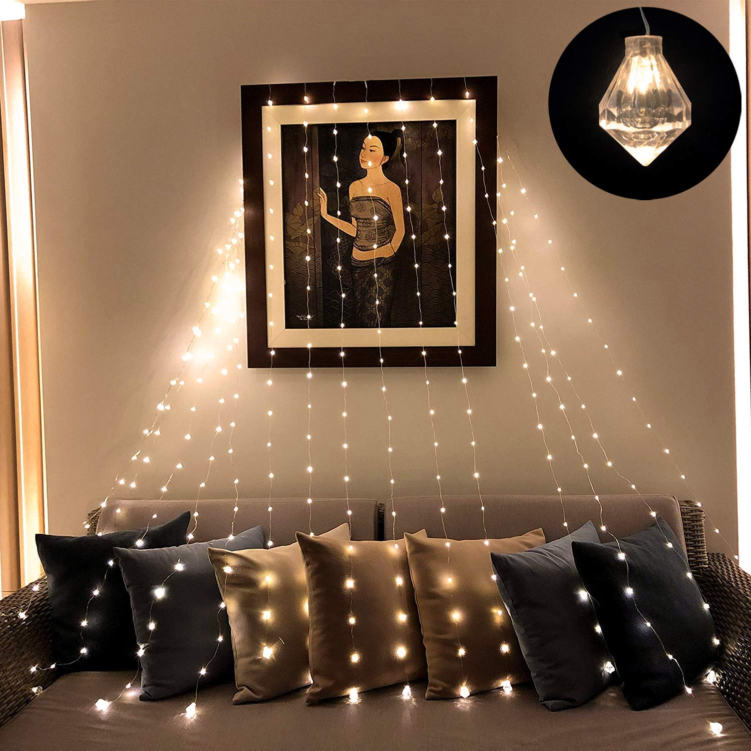 Linkind Copper Wire Fairy String Lights, Curtain Light with Diamond Shape Pendants, 8mode Wall Decorations, Power Supply Low Voltage Safe led Lights.