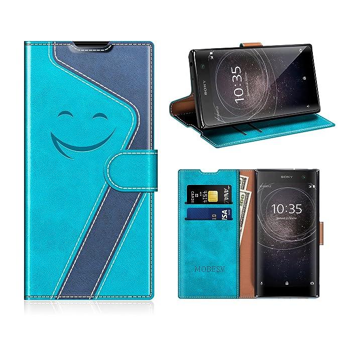 MOBESV Smiley Sony Xperia XA2 Hülle Leder, Sony Xperia XA2 Tasche Lederhülle/Wallet Case/Ledertasche Handyhülle/Schutzhülle f