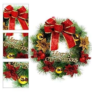 small christmas wreath for front door wall windows artificial poinsettia xmas decoration 79 inch - Christmas Decorations For Front Windows