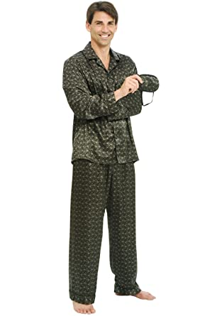 Del Rossa Men's Satin Pajamas, Long Button-Down Pj Set at Amazon ...