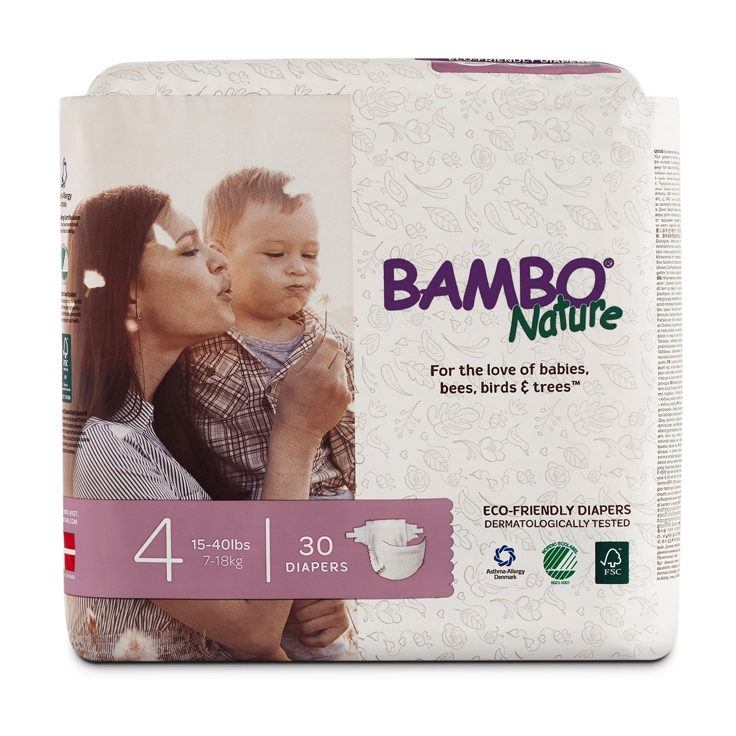 Bambo Nature Eco Friendly Premium Baby Diapers for Sensitive Skin, Size 4 (15-40 lbs), 30 Count by Bambo Nature