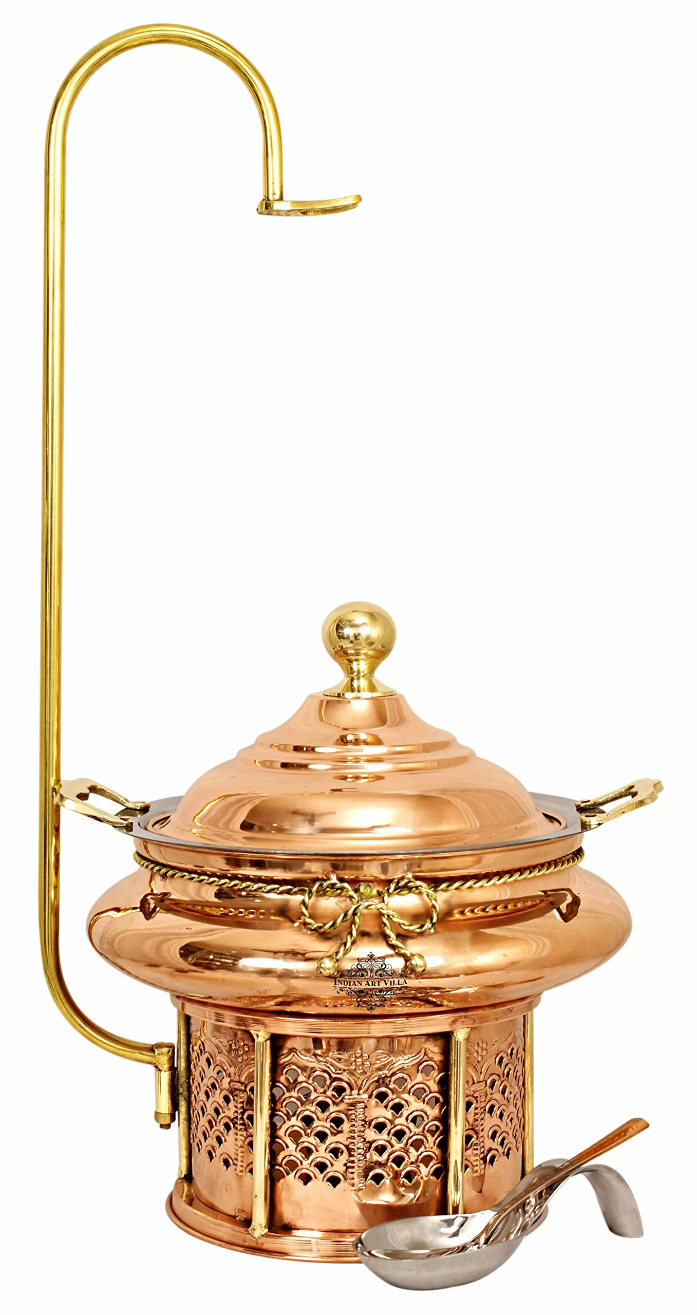 Indian Art Villa Steel Copper Chafing Dish with Sigdi Gel Fuel Stand & Handle, Buffet Warmer Serveware Party, 202 OZ
