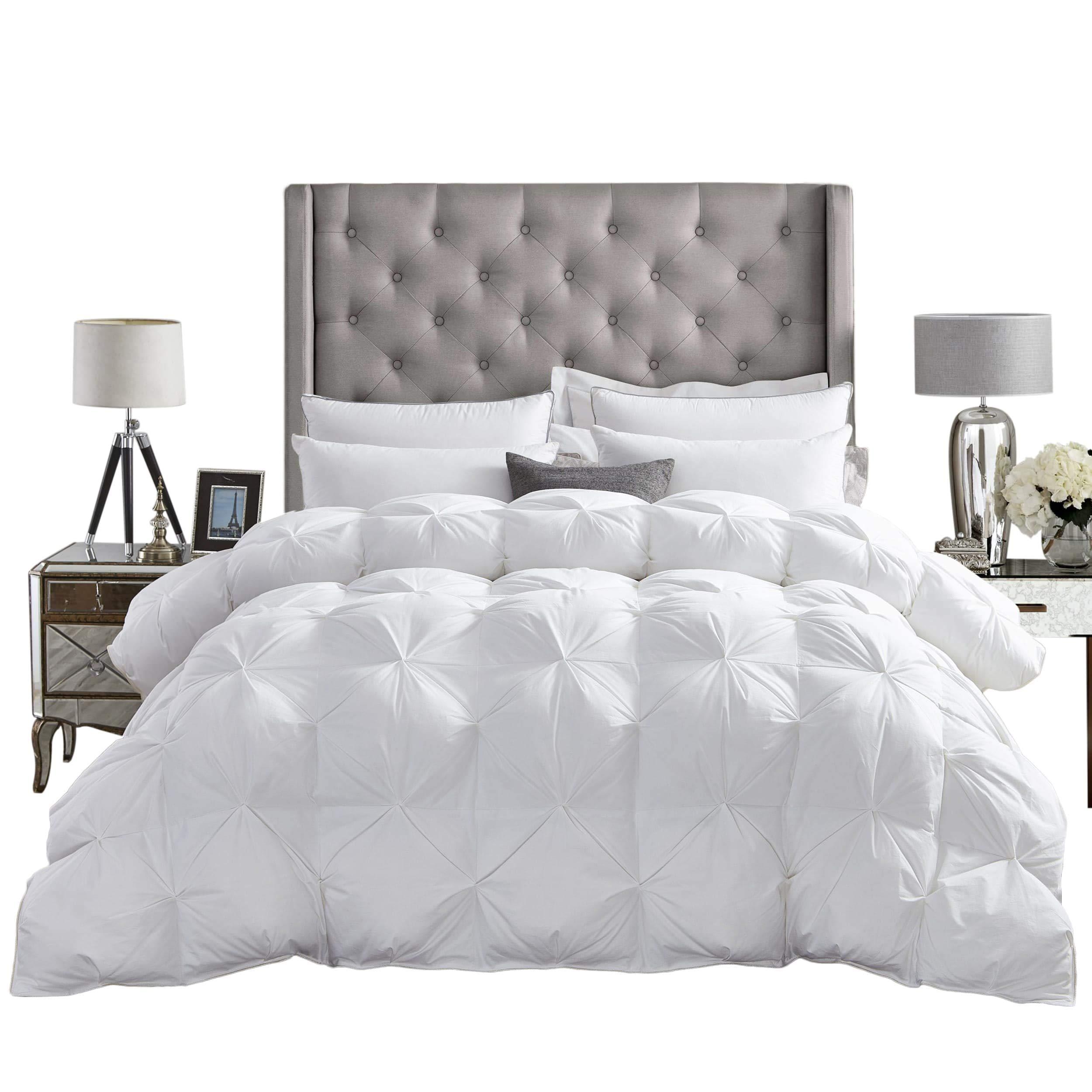 LUXURIOUS All-Season Goose Down Comforter King Size Duvet Insert, Exquisite PINCH PLEAT Design, Premium Baffle Box, 1200 Thread Count 100% Egyptian Cotton, 750+ Fill Power, 65 oz Fill Weight, White