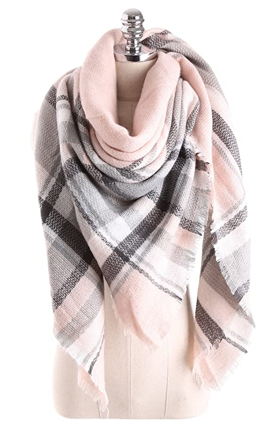 Beautiful soft pink plaid blanket scarf