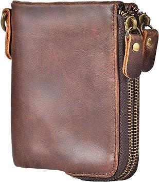 Cowhide Leather Vintage Bifold Wallet RFID Blocking Purse Credit Card Holder Bag