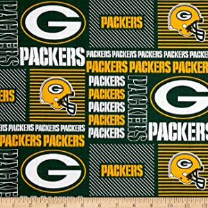Fabric Traditions NFL Cotton Broadcloth Greenbay Packers Patchwork Green Yellow  Fabric by The Yard Yell f2ae1ee03