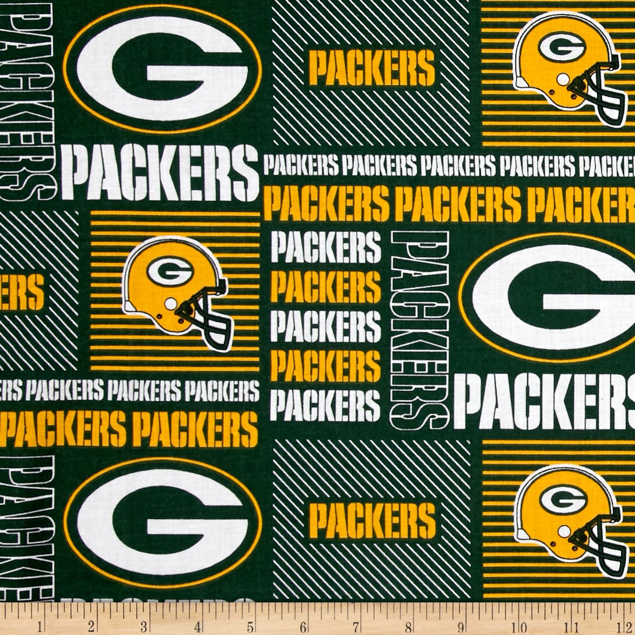 Fabric Traditions NFL Cotton Broadcloth Greenbay Packers Patchwork Green/Yellow Fabric by The Yard, Yell
