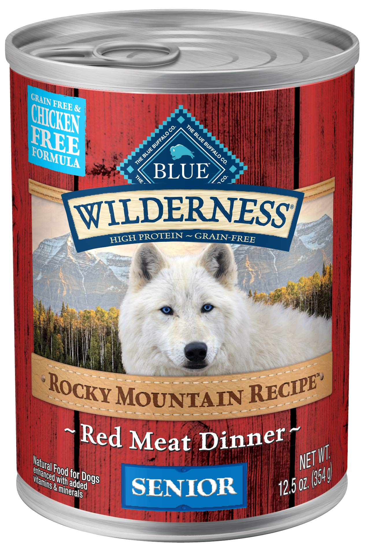 Blue Buffalo Wilderness Rocky Mountain Recipe High Protein Grain Free, Natural Senior Wet Dog Food, Red Meat 12.5-oz can (pack of 12) by BLUE BUFFALO