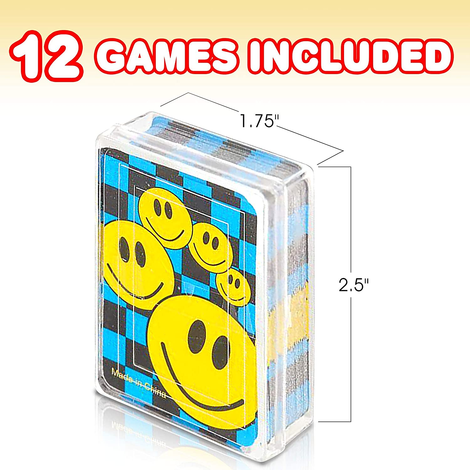 """Carnival Prize Party Favor and Gift Idea for Kids Ages 3+ Gamie Mini Smiley Playing Cards Deck 