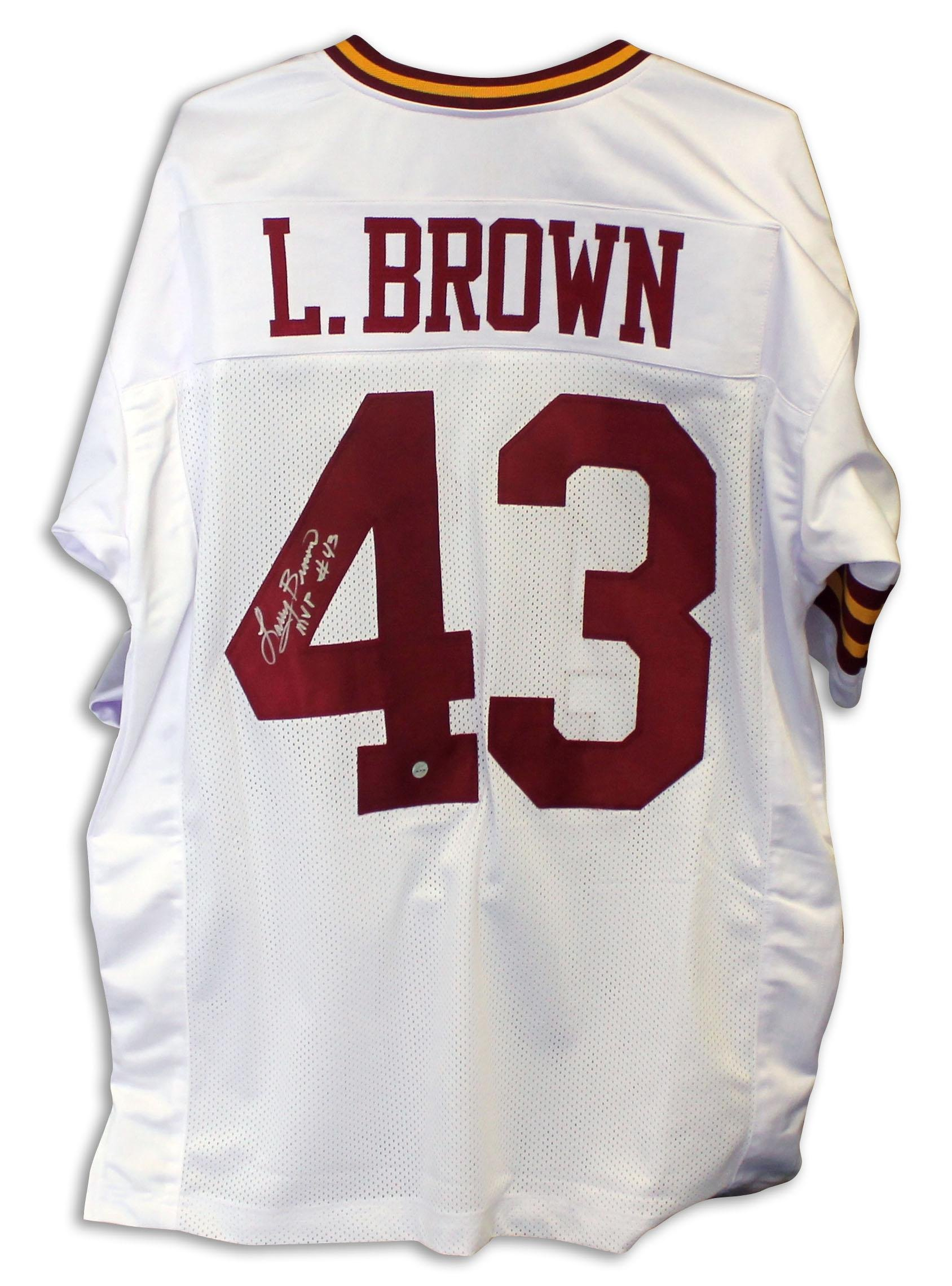 "Larry Brown Washington Redskins Autographed White Jersey Inscribed""MVP"" Autographed Autographed NFL Jerseys"