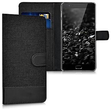kwmobile Funda para OnePlus 3 / 3T - Carcasa de Tela y [Cuero sintético] - con Tapa y [Tarjetero] [Antracita/Negro]