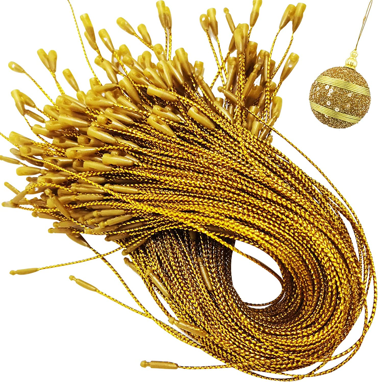 GuassLee 200Pack Gold Christmas Ornament Hanger Snap Locking String Precut Hanging Ropes Fasteners Polyester Ropes for Christmas Tree Ornament Decorations