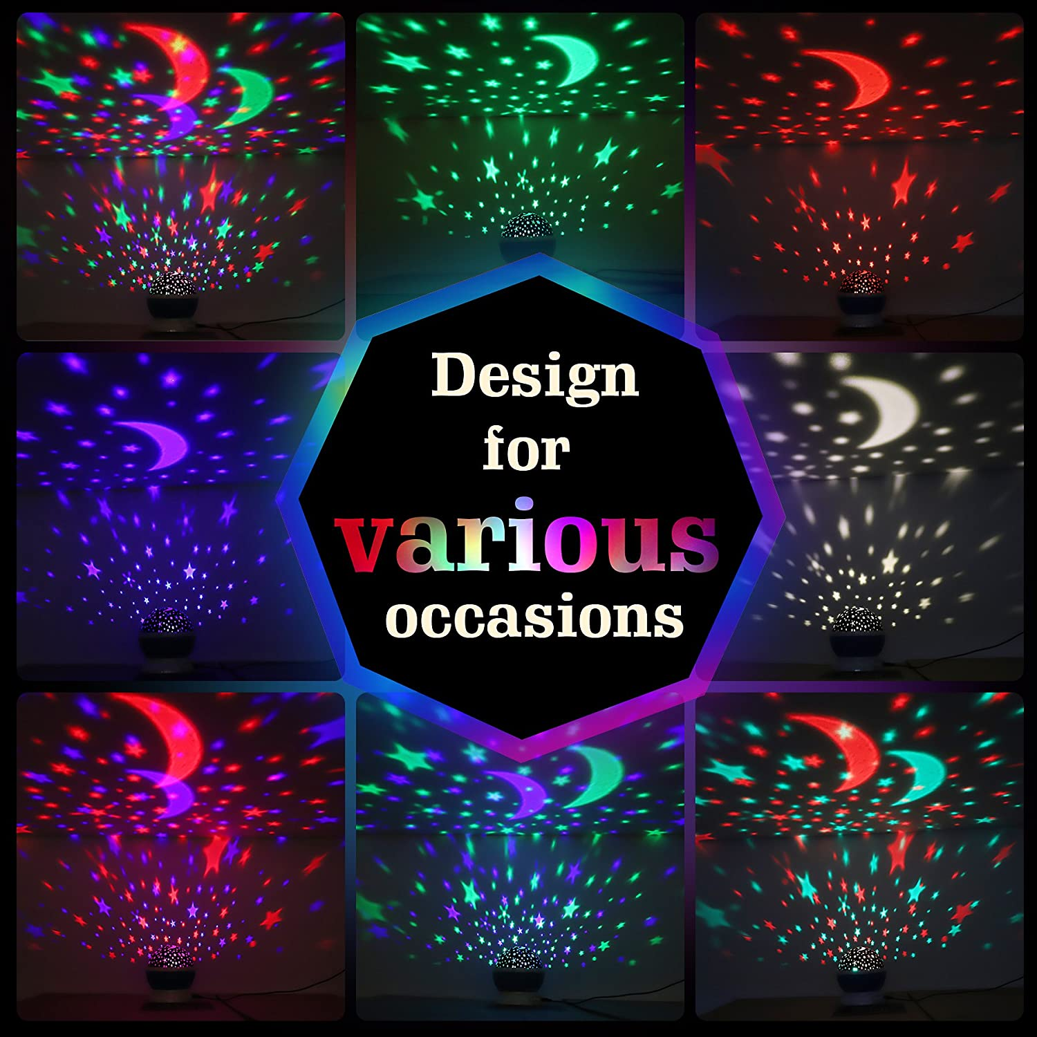 Rotating Star Projector with 9 Color Options Birthday and Party Sensory Toys for Autism Baby Star Light for Christmas AnanBros Room Decor Kids Night Light with Lamp Mode and Projection Mode
