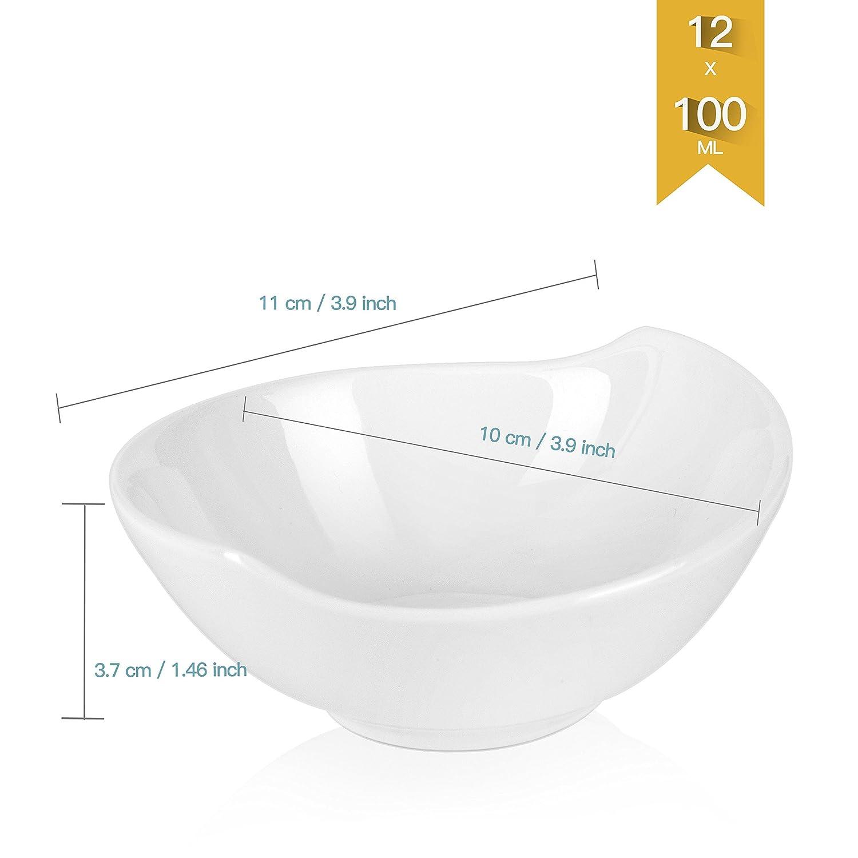 Colore: Bianco Avorio//Crema MALACASA in Porcellana 12 Pezzi Set di Piatti Serie Ramekin.Dish 11 x 10 x 4 cm Set da 12 Pezzi