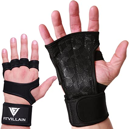 Premium Crossfit Gloves with Built-In Wrist Wraps - Workout Gloves -  Non-Slip Eco+ Padding for Extra Grip - Protection - Comfort - Ideal for  Cross
