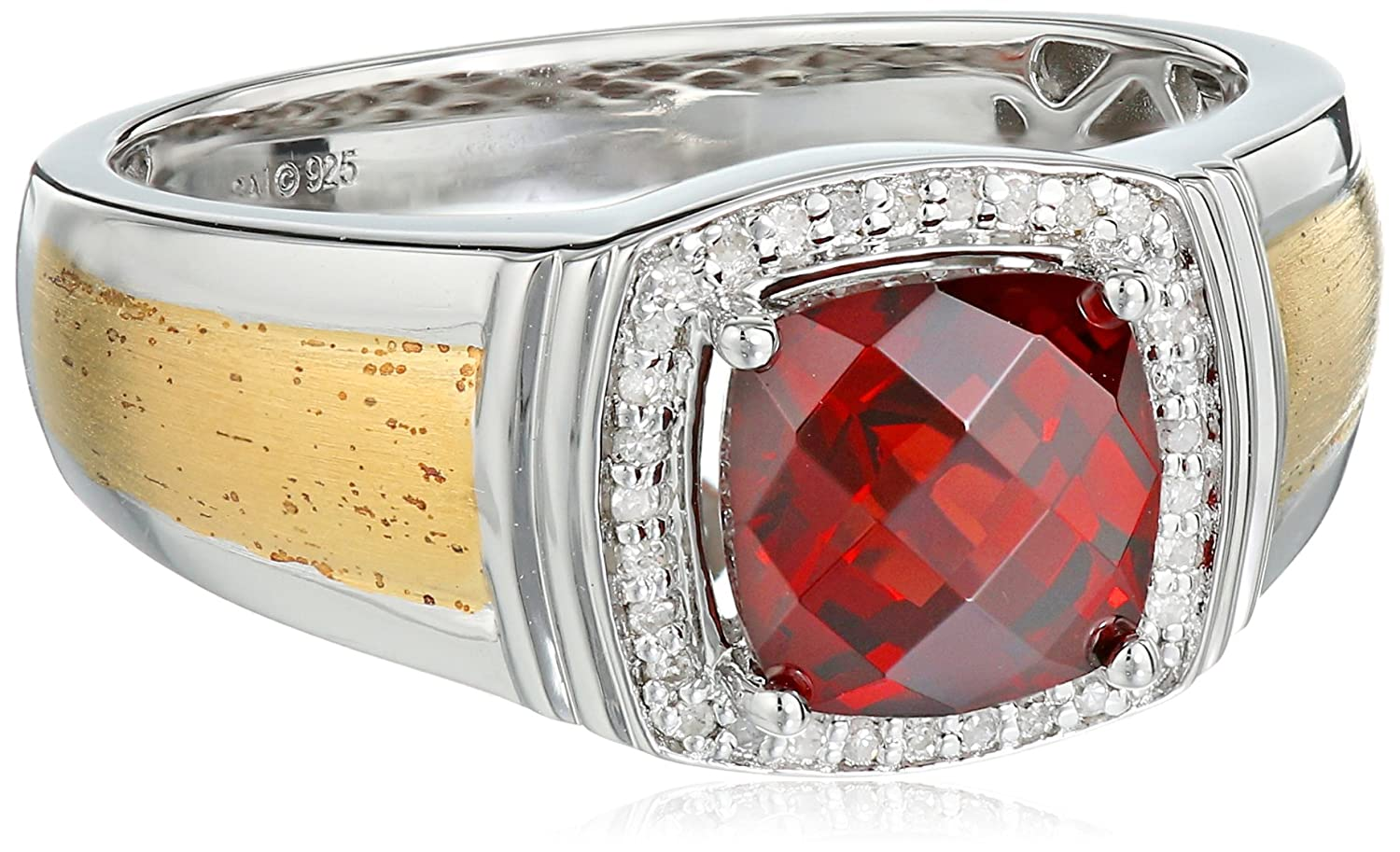 Men's Sterling Silver with Yellow Gold Plating Garnet and Diamond (0.1cttw, I-J Color, I2-I3 Clarity) Ring, Size 10.5