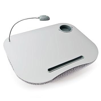 Relaxdays 10012569 Mesa, Soporte para Ordenador portátil, Luces LED y portavasos, Blanco,