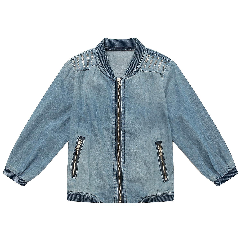 Richie House Little Girls' Denim Coat with Rivets Size 2-10 RH1750