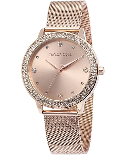 Amazon.com: TAYLOR COLE Stainless Steel Rose Golden Round women lady girl Analog quartz Wrist Watch: Watches