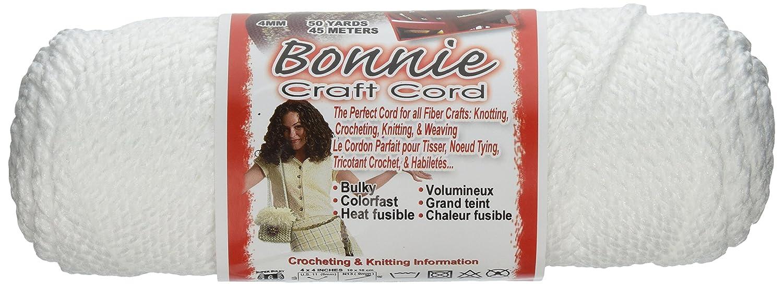 Bonnie Macrame Craft Cord 4mmX50yd-White BB4-50-001