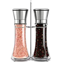 Original Stainless Steel Salt and Pepper Grinder Set With Stand - Tall Salt and Pepper Shakers with Adjustable…